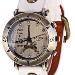 นาฬิกาข้อมือผู้หญิง สายหนังแท้ หน้าปัดหอ ไอเฟล สินค้านำเข้าฝรั่งเศส