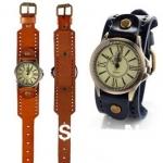 นาฬิกาข้อมือผู้หญิง นาฬิกาสายหนังแท้ แบบคลาสสิค หน้าปัดวงกลม นาฬิกาข้อมือสไตล์ วินเทจ สีขาว น้ำเงิน เขียว ดำ น้ำตาล แดง 614451_1