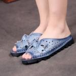 รองเท้าส้นแบน รองเท้าแฟชั่น ผู้หญิง รองเท้าแตะ หนังแท้ สีฟ้าคราม แบบมีหุ้มส้นเล็กน้อย รองเท้าผู้หญิงแฟชั่น ยอดนิยม ติดโบว์ด้านหน้า ใส่เที่ยว ไฮโซ 478039_1