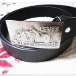 เข็มขัดหนังแท้ Levis หัวสีเงิน สายสีดำด้าน Le573001