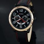 นาฬิกาข้อมือ ผู้ชาย สายหนัง สีดำ ตัดด้วย ตะเข็บ สีแดง แบบมีดีไซน์ นาฬิกาสายหนัง Curren แบบคลาสสิค หน้าปัด ขาว และ ดำ มีระบบวันที่ 267627