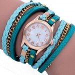 นาฬิกาข้อมือผู้หญิง นาฬิกาข้อมือ สายหนังแท้ ดีไซน์ เป็น สร้อยข้อมือ หนังถัก พันหลายรอบ แบบ ร็อค สาวเท่ สีดำ ม่วง ขาว น้ำตาล ชมพู เขียว 321896