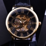 นาฬิกาโชว์กลไก ดีไซน์ หรู หน้าปัดกลม 3D นูนโค้ง นาฬิกาข้อมือผู้ชาย ผู้หญิง ใส่ได้ แบบคลาสสิค ไม่ต้องใส่ถ่าน สายหนัง สลับ กรอบเงินทอง หรู 709890