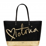 Victoria's Secret Heart Script Victoria Tote (Black/Gold)