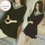 **สินค้าหมด dress3633 งานนำเข้าสไตล์เกาหลี ชุดเดรสคอวี แขนยาว ผ้าเนื้อดีนิ่มยืดได้ สีดำ