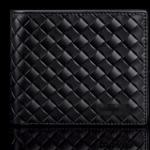 กระเป๋าสตางค์ผู้ชาย ใบสั้น หนังถัก เป็นตาราง สีดำ คลาสสิค ดีไซน์ ไฮโซ กระเป๋าสตางค์ หนังแท้ สินค้านำเข้า ราคาถูก 626503