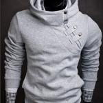 เสื้อ แจ็คเก็ต ผู้ชายแขนยาว แบบสวม เสื้อกันหนาว สีเทาอ่อน แบบมีฮู้ด คอปิด เสื้อใส่ ขี่มอเตอร์ไซค์ หน้าหนาวแบบ เท่ ๆ 887954_2