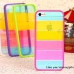 เคส iphone 5 สีรุ้ง Rainbow case ขอบชมพูเข้ม ฟรีปากกา Touch screen