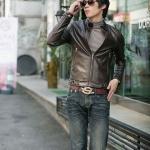เสื้อ Jacket ผู้ชาย แจ๊คเก็ตหนัง แบบพอดีตัว Slim fit แขนยาว เสื้อคลุมหนัง ใส่ในออฟฟิต ทำงาน ได้แบบเท่ ๆ สีน้ำตาล 92047_1