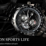 นาฬิกาข้อมือ ผู้ชาย สาย Stainless steel สีดำ ดีไซน์ เท่ นาฬิกาแนวสปอร์ต สีดำ แบบคลาสสิค มีระบบ วันที่ ของขวัญให้แฟน สุดหรู ดูดี มีระดับ 718021