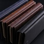 กระเป๋าสตางค์ผู้ชาย กระเป๋าหนังแท้ ใบยาว แบบเรียน สีพื้น เห็นลายหนัง สีน้ำเงิน น้ำตาล ดำ ซิปรอบ ของขวัญให้คนพิเศษ สุดหรู 875495