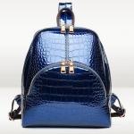 กระเป๋าเป้ กระเป๋าสะพายหลัง หนังแก้ว อัดลายหนังจรเข้ แบบวัยรุ่น ไฮโซ สีน้ำเงิน สีดำ หนังเงา สวยหรู ดูโดดเด่น มีสไตล์ 522953