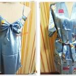 ชุดนอน เอาใจแฟน ผ้าลื่น ผ้าซาติน พร้อมเสื้อคลุม สีฟ้า คิตตี้ b002