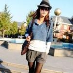 กางเกงขาสั้นผู้หญิง สำหรับสาวร่างบาง กางเกงผ้า งานตัด ออกแบบ ขาพับ สีเทาอ่อน กางเกงขาสั้น ใส่เที่ยว น่ารัก ๆ 55775