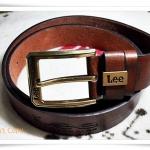 เข็มขัดหนังแท้ สีน้ำตาลไหม้ Lee A201