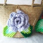 กระเป๋ากระจูดสาน ประดับกุหลาบฟ้าเทา ขนาด 7*7 นิ้ว basket weave bags