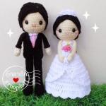 """ตุ๊กตาถัก คนแต่งงาน 9"""" (1)"""