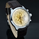 นาฬิกาข้อมือ ผู้ชาย สายหนังแท้ หน้าปัด คลาสสิค สีทอง หรูหรา มีสไตล์ คลาสสิค สำหรับผู้ชาย มาดเข้ม นุ่มลึก ดีไซน์ เท่ 19477_3