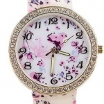 นาฬิกาข้อมือผู้หญิง นาฬิกาแฟชั่น สำหรับคนชอบสะสม นาฬิกาข้อมือ สาย Silicone อย่างดี หน้าปัด ล้อมเพชร คริสตัล ลายนก สีชมพูอ่อน 829094_5