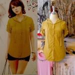 **สินค้าหมด Sale!! blouse1522 เสื้อแฟชั่นตัวยาวมีฮู้ด ผ้าชีฟองสีพื้น กระดุมหน้า สีเหลืองมะนาว