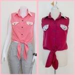 **สินค้าหมด Sale!! blouse1696 เสื้อแฟชั่นผ้าไหมอิตาลี คอปกเชิ้ตลูกไม้ ผูกเอว สีน้ำตาลแดง รอบอก 36 นิ้ว