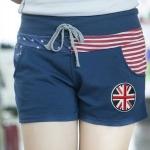 กางเกงขาสั้น ผู้หญิง กางเกงโยคะ กางเกง ใส่เที่ยว ผ้า Cotton นุ่มใส่สบาย ลาย ธงชาติ อังกฤษ เอวยางยืด กางเกงขาสั้นใส่ไปเที่ยว 767745