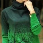 เสื้อกันหนาว แบบสวม เสื้อกันหนาวผู้หญิง สามารถใส่แทน เสื้อยืด ได้เลย เสื้อกันหนาว แบบปิดคอ ดีไซน์ เท่ ๆ ลายต้นไม้ สีทูโทน 248520