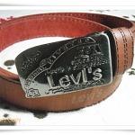 เข็มขัด Levis หนังแท้สีน้ำตาล หัวสีเงินสี่เหลี่ยม L811