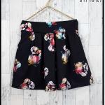 **สินค้าหมด skirt292 กางเกงกระโปรง กระเป๋าข้าง ผ้าหนาเนื้อดีพิมพ์ลายดอกไม้ พื้นสีดำ