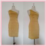 **สินค้าหมด dress2083 เดรสออกงานแฟชั่นแพลตตินั่ม แขนกุดบ่าเดียว ผ้าเนื้อดีทรงขนมชั้น สีเหลืองมะนาว รอบอก 36 นิ้ว