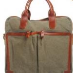 กระเป๋าถือ ผู้ชาย ใส่ Notebook หรือ เอกสาร ผ้าแคนวาส มีสายสะพายแยก สีน้ำตาล