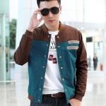 เสื้อ แจ็คเก็ต ผู้ชายแขนยาว สไตล์ วัยรุ่น ผ้า Cotton Jacket กระดุมหน้า ดีไซน์ สลับ 2 สี น้ำเงิน และ น้ำตาล แบบสวย มีดีไซน์ เท่ ๆ 97940