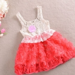เดรส เด็กผู้หญิง ชุดกระโปรง ลายดอกกุหลาบ สีแดงสด ใส่ออกงาน ใส่เที่ยว เดรสเสื้อแขนกุด ผ้าลูกไม้ ใส่หน้าร้อน เดรสเด็ก สไตล์ คุณหนู 273383_2
