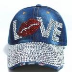หมวกแก๊ป หมวกมีปีก หมวกเบสบอล หมวกยีนส์ ติดคริสตัล เป็น อักษร LOVE ทำเป็นรูปปาก แทนตัว O หลายสี สียีนส์ สีดำ สีขาว 3117247