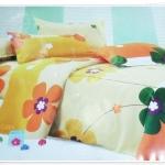5 ฟุต 3 ชิ้น ชุดเครื่องนอน ผ้าปูที่นอน ลายดอกไม้สีส้ม P002
