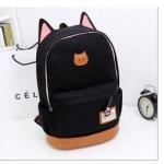 กระเป๋าสะพายหลัง กระเป๋าเป้ ผ้า canvas หรือ ผ้ายีนส์ กระเป๋าใส่หนังสือ ไปเรียนได้ แฟชั่น ญี่ปุ่น หูแมว น่ารักสุด ๆ สีดำ no 4833060