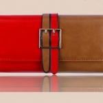 กระเป๋าสตางค์ผู้หญิง ใบยาว กระเป๋าสตางค์ แฟชั่น หนังแท้ 2 ฝั่งละครึ่ง สีน้ำตาล ตัด กับสีแดง สวยหรู ดีไซน์ เข็มขัด 2 สีคาด สวยเก๋ 389777_3