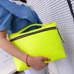 กระเป๋าถือผู้หญิง กระเป๋าสะพายข้าง สีสันสดใส สีสะท้อนแสง กระเป๋าแฟชั่น หนัง Pu สีเขียว ชมพู ดำ แบบสวย มีดีไซน์ แต่งซิป สุดหรู 567029
