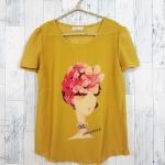 **สินค้าหมด blouse1786 เสื้อแฟชั่นผ้าชีฟองเนื้อทราย แต่งลายผู้หญิงปักมุก แขนสั้น สีเหลืองมัสตาร์ด