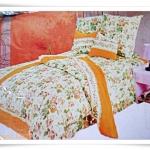 ชุดผ้าปูเตียง ผ้าปูที่นอน สีเหลืองอ่อน Cotton 6 ฟุต 5 ชิ้น B002