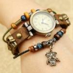 นาฬิกาข้อมือผู้หญิง นาฬิกาสายหนังแท้ หนังถัก นาฬิกาข้อมือ Diy งาน Hand Made สไตล์ ร็อค พังค์ ติด จี้ รูปหัวกะโหลก รอบเส้น หนังแท้ ร้อยลูกปัด วินเทจ 775523