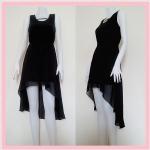 **สินค้าหมด dress2112 เดรสออกงานแฟชั่นงานแพลตตินั่ม ผ้าชีฟอง เอวยืด ชายหลังยาว(ทรงหางปลา) สีดำ