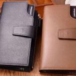 กระเป๋าสตางค์ แบบ กระเป๋าถือผู้ชาย กระเป๋าสตางค์หนัง pu กันน้ำ ทนต่อการขูดขีด สีดำ และ สีน้ำตาล ช่องซิปยาว ใส่บัตรได้เยอะ มีสายคล้องมือ 458015