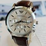 นาฬิกาข้อมือ ผู้ชาย Armani หนังแท้ แบบคลาสสิค สายหนังสีน้ำตาล หน้าปัดสีขาว no 8156809