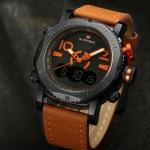 นาฬิกาข้อมือ ผู้ชาย นาฬิกาสายหนัง นาฬิการะบบตัวเลข รวมกับ ระบบเข็ม ภายในเรือนเดียว ดีไซน์หน้าปัดใหญ่ แข็งแรง กันน้ำได้ 549169