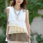 เสื้อใส่ทำงานผู้หญิง เสื้อใส่เที่ยว ผ้าชีฟอง ทำเป็น ระบายชั้น ๆ เสื้อแขนกุด ใส่ในวันสบาย ๆ สีน้ำตาล โกโก้ ครีม no 725163_2