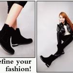 รองเท้าบูทผู้หญิง แบบข้อไม่สูงมาก หนังกำมะหยี่ รองเท้าบูทใส่เที่ยว ต่างประเทศราคาถูก ติดเหล็กที่ส้นเท้า เพิ่มความเก๋ สีดำ ดูแลง่าย 783019_1