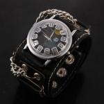 นาฬิกาข้อมือ แนว Rock หรือ พังค์ นาฬิกาสายหนังแท้ หน้าปัด หัวกะโหลก วันฮาโลวีน สายหนังสีดำ หน้าปัดดำ no 577936_3