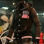 เสื้อ แจ็คเก็ต ผู้ชายแขนยาว มีฮู้ด ด้านหลัง เสื้อกันหนาว สไตล์ อเมริกัน แบบกระดุมหน้า มีกระเป๋า ด้านข้าง 2 ข้าง สีดำ 68043