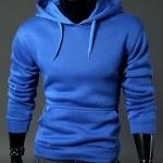 เสื้อ แจ็คเก็ต ผู้ชายแขนยาว แบบสวม และ มีฮู้ด ด้านหลัง เสื้อแขนยาวมีอู้ด เสื้อกันหนาวสำหรับผู้ชาย สีฟ้าเข้ม no 683268_2
